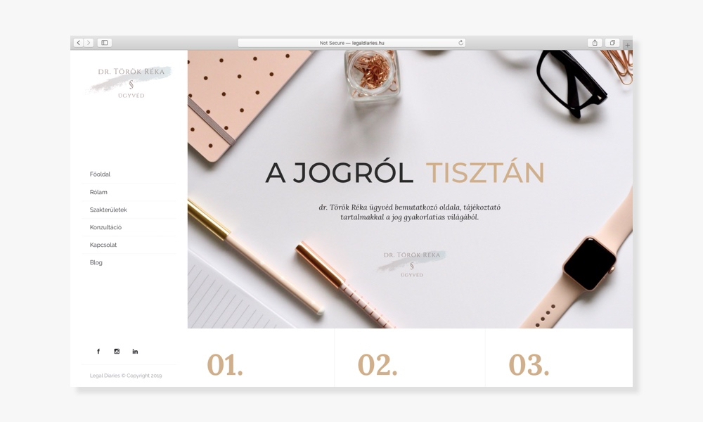 Wndeer Design - Webdesign Referencia - Legal Diaries - Dr. Török Réka